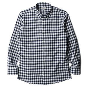 "BANTS Flannel Round Collar Shirt ""Navy x White"""