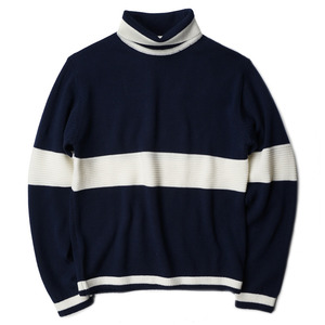 "OOPARTS Roll-Neck Striped Wool Sweater ""Navy"""
