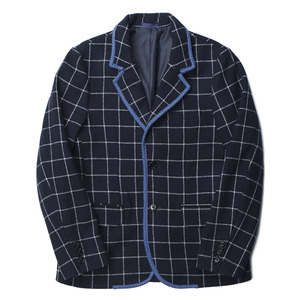 "BANTS Tweed Wool Check Single Jacket ""Navy"""