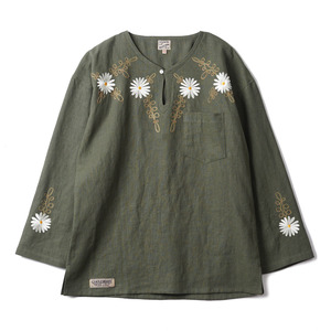 "Doc. Tunic Embroidered Flower ""Olive"""