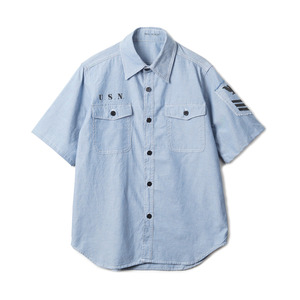 "YMCL KY US Type NAVY Chambray Shirts Stencil S/S ""Blue"""