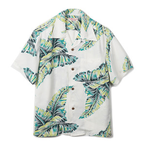 "SS37458 S/S Banana-Leaf Rayon Aloha Shirt ""Off-White"""