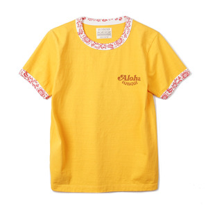 "SS77584 S/S Ringer T-Shirts King Kamehameha ""Yellow"""
