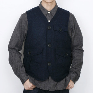 "Gooseberry Lay & Co. Gaffer Waistcoat With Quilted Nylon ""Navy Tweed Wool"""