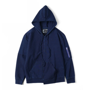 "OOPARTS OPT18SSTP03BL Washed Geometric Long Sleeve Hoodie ""Blue"""