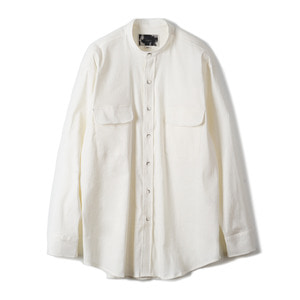 "OOPARTS OPT18SSSH03WH Linen Blend Collarless Shirt ""White"""