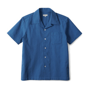 "BANTS GTB Seersucker Cotton Open Collar Shirt Half ""Blue"""