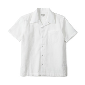 "BANTS GTB Seersucker Cotton Open Collar Shirt Half ""White"""