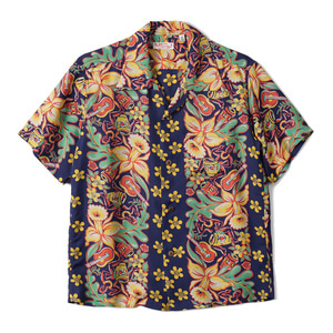 "SUN SURF S/S Rayon Hawaiian Shirt Orchid And Hawaiian Tradition ""Navy"""