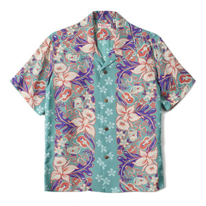 "SUN SURF S/S Rayon Hawaiian Shirt Orchid And Hawaiian Tradition ""Green"""