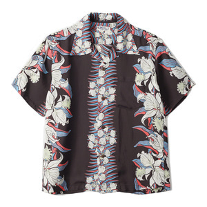 "SUN SURF S/S Rayon Hawaiian Shirt Cattleya Orchid ""Black"""