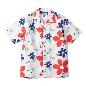 "SUN SURF SS37922 Hawaiian Shirt Abstract Flower ""White"""