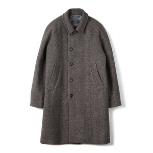 "BANTS BTS Herringbone Wool Balmacaan Coat ""Brown"""