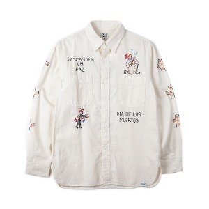 "OAXACA Chambray Embroidery Shirt ""White"""