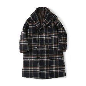 "SHIRTER Belted Wool Check Coat ""Check Navy"""