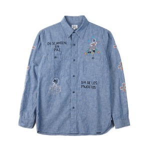 "OAXACA Chambray Embroidery Shirt ""Blue"""