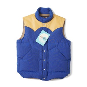 "SUGAR CANE SC12340 Leather Yoke Down Vest ""Blue"""