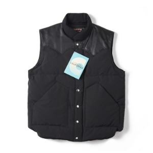 "SUGAR CANE SC12340 Leather Yoke Down Vest ""Black"""