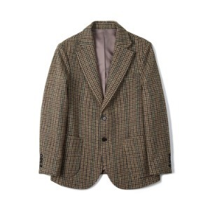 "BANTS BTS Gun Club Check Tweed Wool 2B Single Jacket ""Brown"""