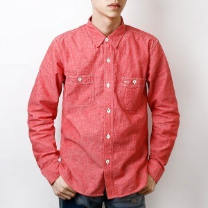 "BURGUS PLUS Chambray Work Shirt HBP-300CH ""Red"""