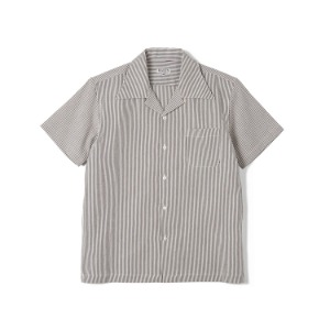 "BANTS FLB Stripe Seersucker Open Collar Shirt ""Brown"""
