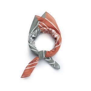 "EASTLOGUE Bandana Silk ""Green & Orange"""