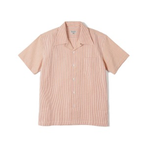 "BANTS FLB Stripe Seersucker Open Collar Shirt ""Orange"""