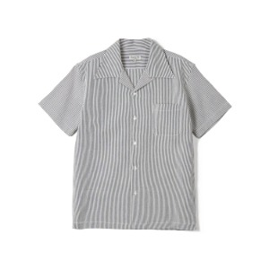 "BANTS FLB Stripe Seersucker Open Collar Shirt ""Navy"""