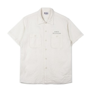 BUZZ RICKSON'S White Chambray S/S Work Shirt Stencil