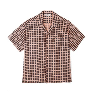 "STAR OF HOLLYWOOD Square Grid High Density Rayon S/S Open Shirt ""Black"""