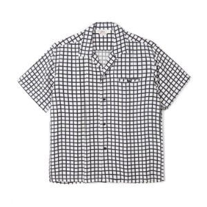 "STAR OF HOLLYWOOD Square Grid High Density Rayon S/S Open Shirt ""Off White"""