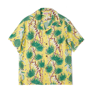 "SUN SURF S/S Rayon Hawaiian Shirt Screw Pine Border ""Yellow"""