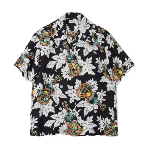 "SUN SURF S/S Rayon Hawaiian Shirt Ukulele Melody ""Black"""