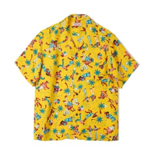 "SUN SURF S/S Rayon Hawaiian Shirt Fun Island Of Hawaii ""Yellow"""