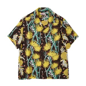 "SUN SURF S/S Rayon Hawaiian Shirt Screw Pine Border ""Black"""