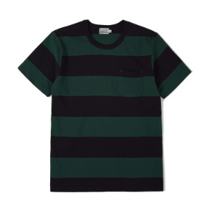 "BURGUS PLUS S/S Pocket Wide Border Tee ""Green x D.Navy"""