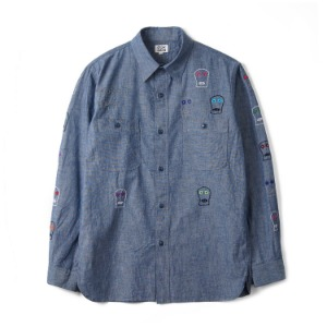 "OAXACA Flower Skull shirt ""Blue"""
