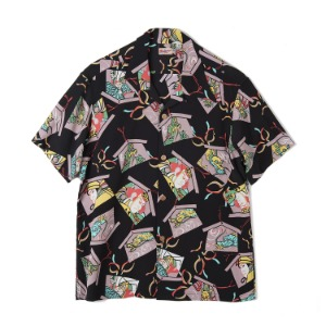 "SUN SURF S/S Rayon Hawaiian Shirt Kabuki Make Up ""Black"""