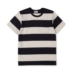 "BURGUS PLUS S/S Pocket Wide Border Tee ""White x D.Navy"""