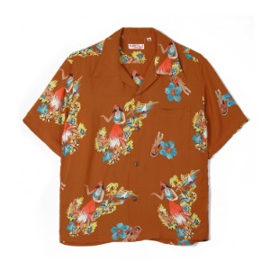 "SUN SURF S/S Rayon Hawaiian Shirt Being To Dance Hula ""Brown"""