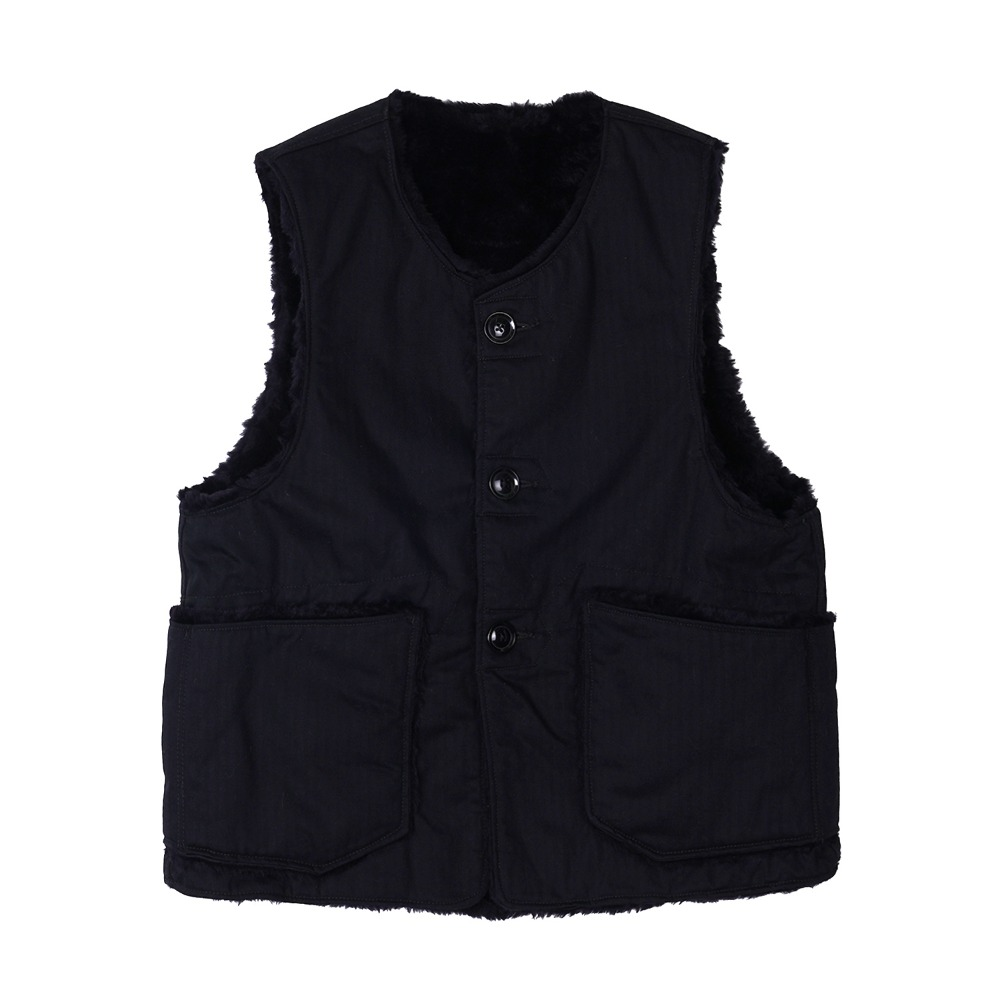 "ENGINEERED GARMENTS Over Vest ""Black Cotton Herringbone Twill"""