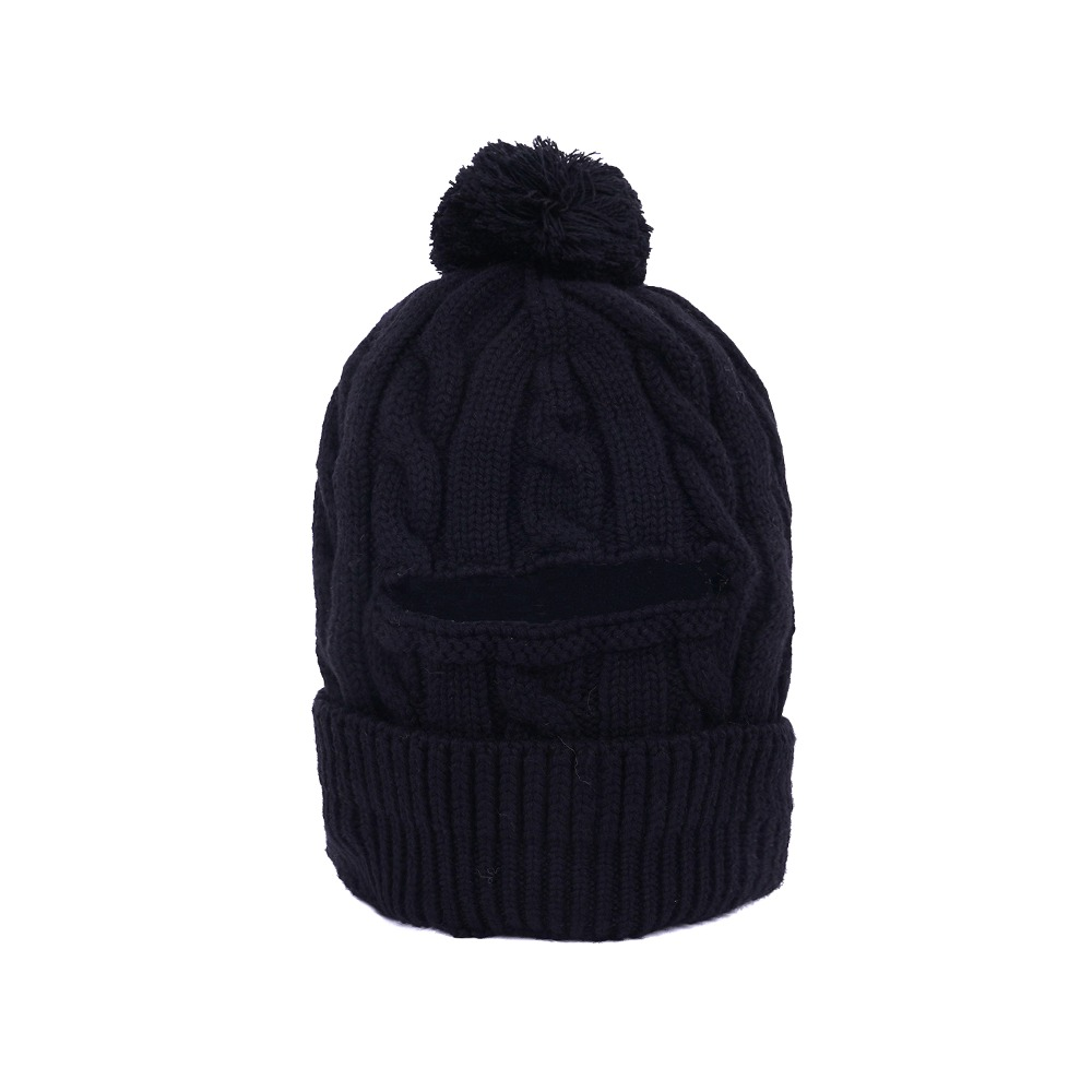 "ENGINEERED GARMENTS Pom Pom Beanie  ""Black Wool Cable Knit"""