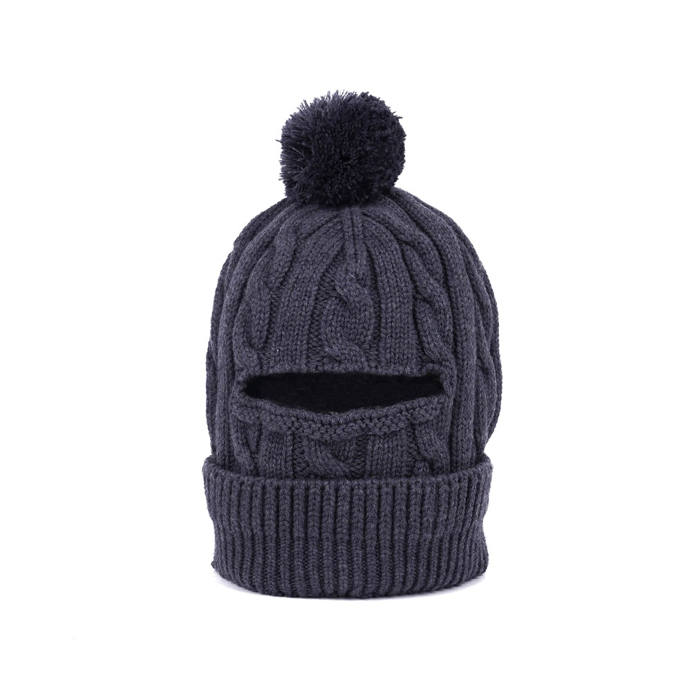 "ENGINEERED GARMENTS Pom Pom Beanie  ""Grey Wool Cable Knit"""