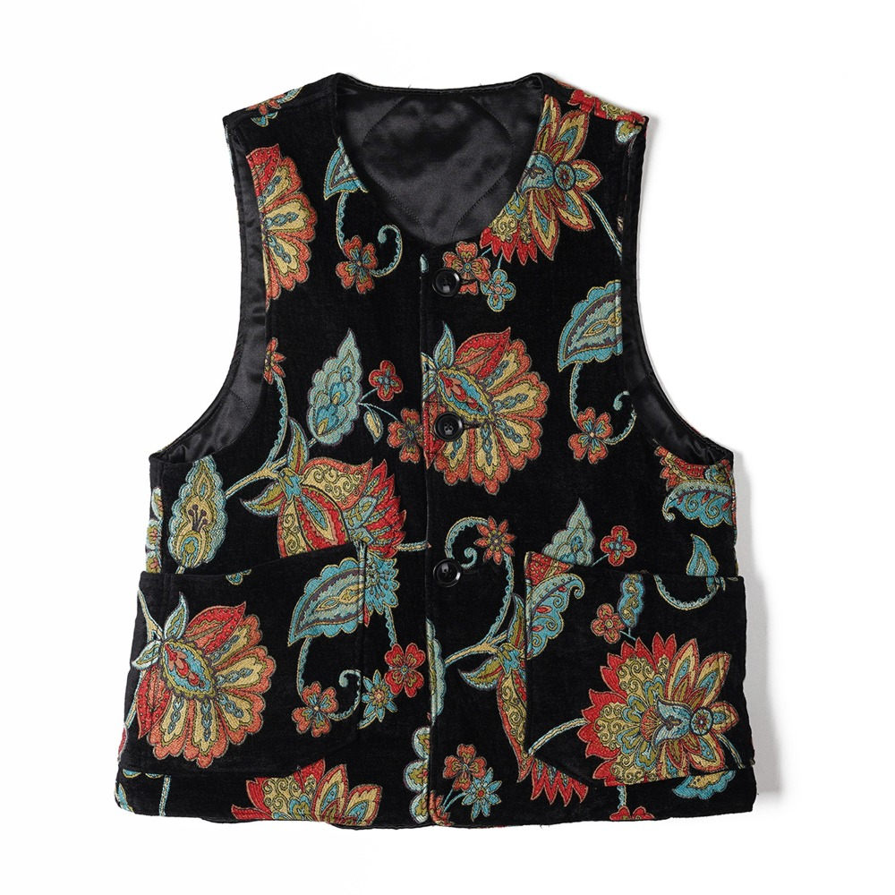 "ENGINEERED GARMENTS Over Vest ""Black Floral Rug Jacquard"""