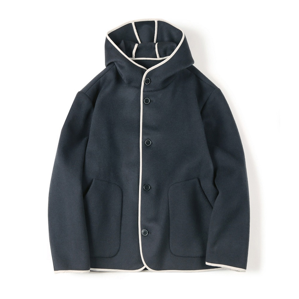 "SHIRTER Reversible Hooded Wool Jacket ""Dark Blue"""