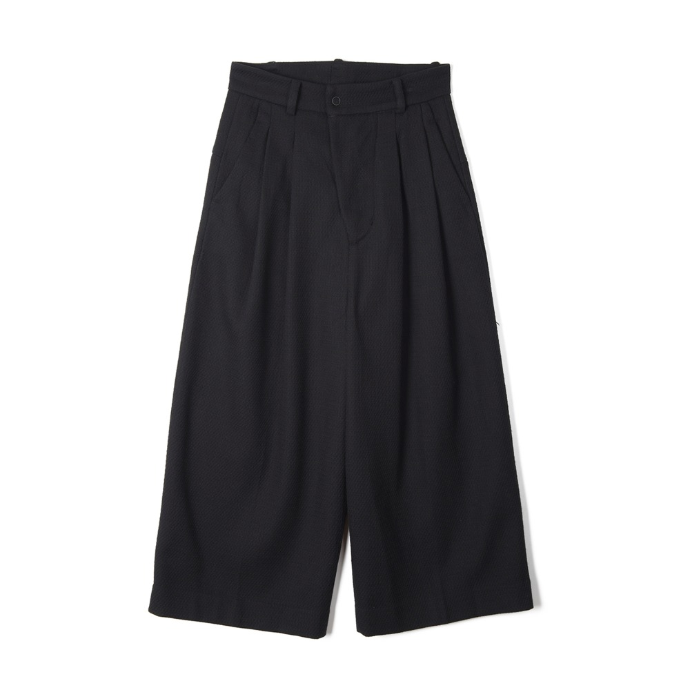 "OOPARTS Two Pleats Wide-Leg Wool Pants ""Dark Navy"""