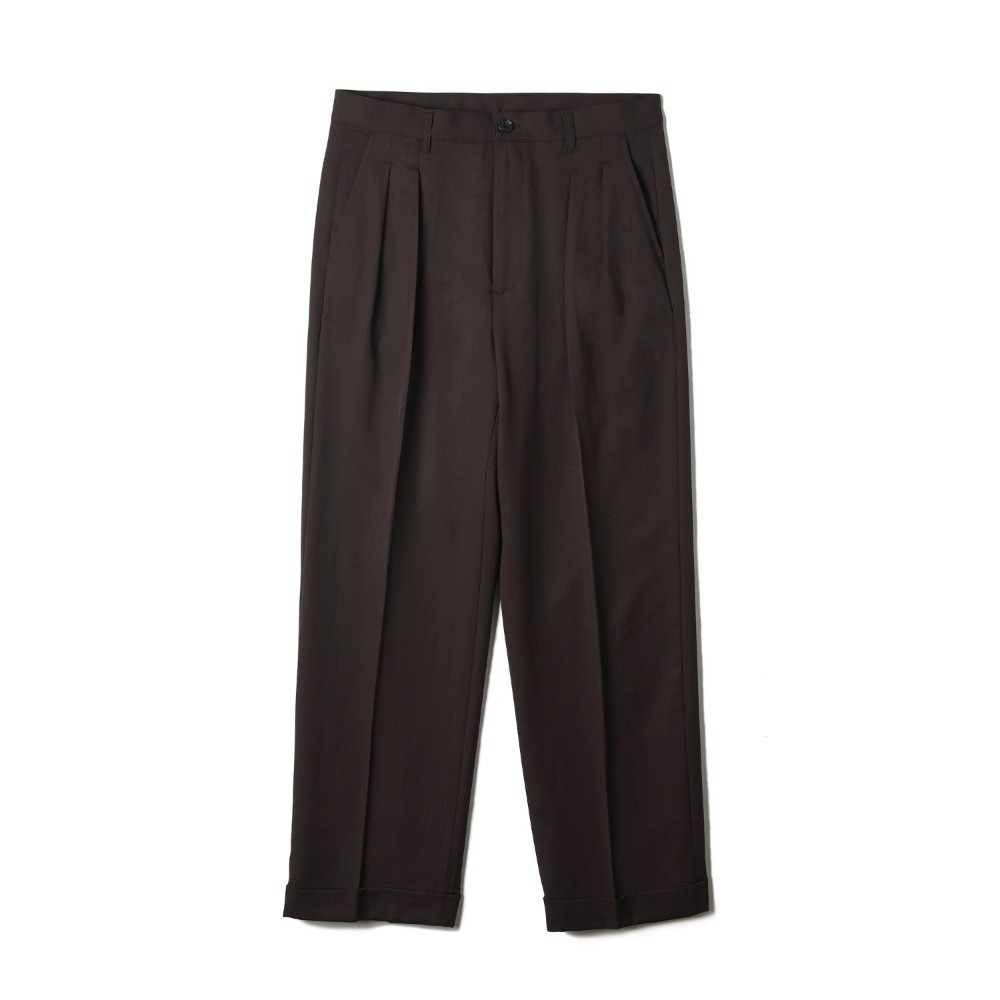 "BANTS OSF Wool Two-tuck Wide Pants ""Brown"""