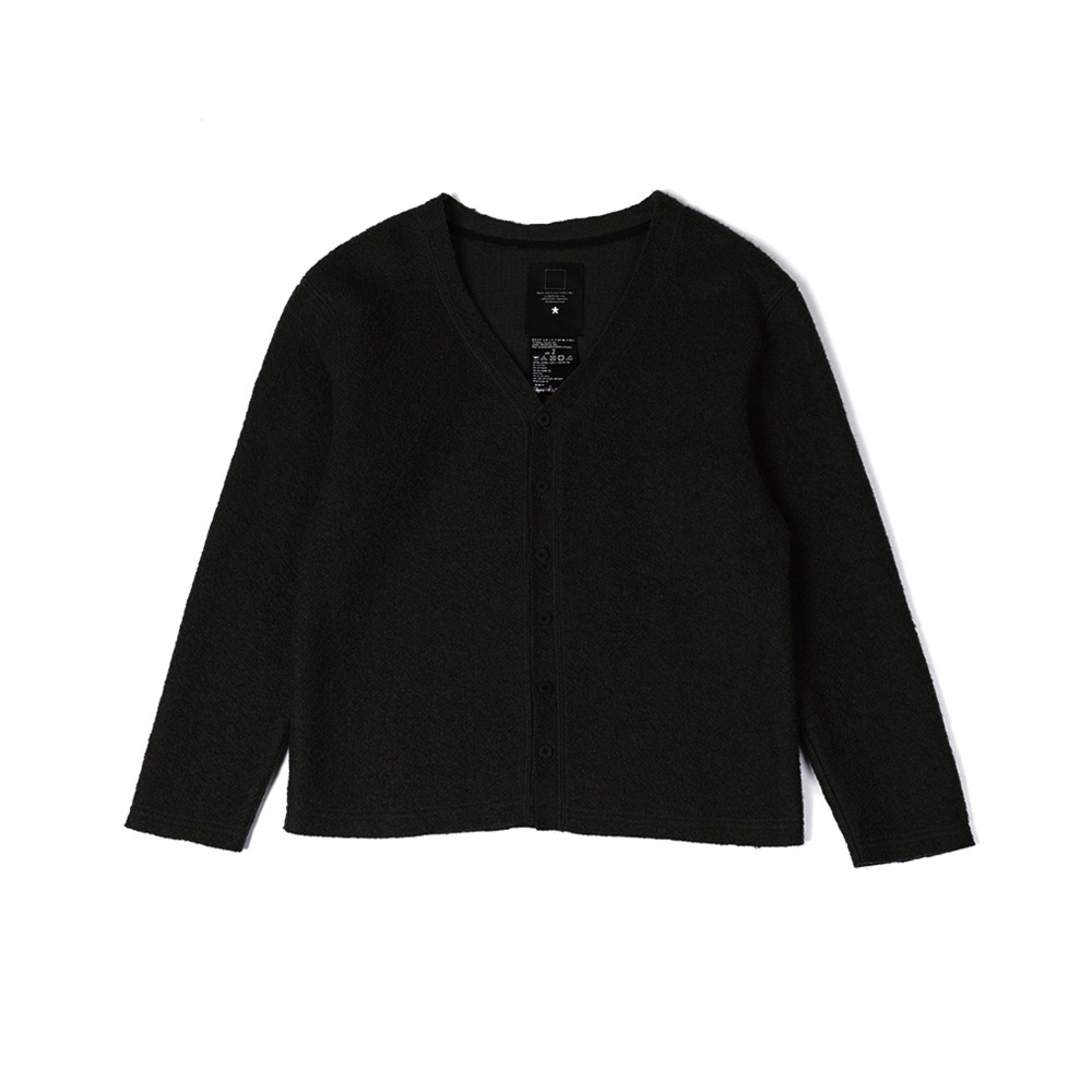 "OOPARTS Fleece Cut-off Cardigan ""Black"""