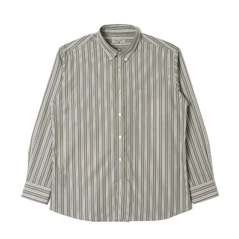 "BANTS OSF Stripe Broadcloth B.D Shirt ""Green"""