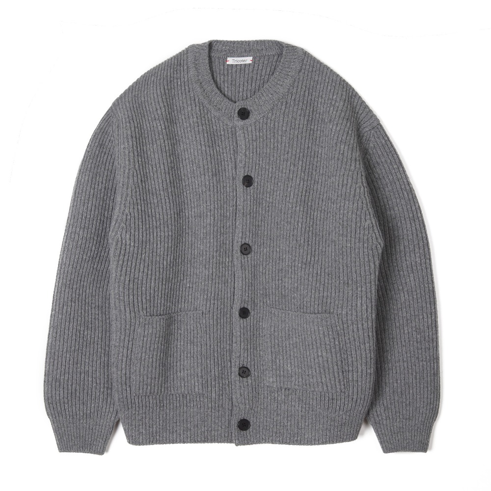 "TRICOTER Chunky Ribbed Full Cardigan ""Gray"""